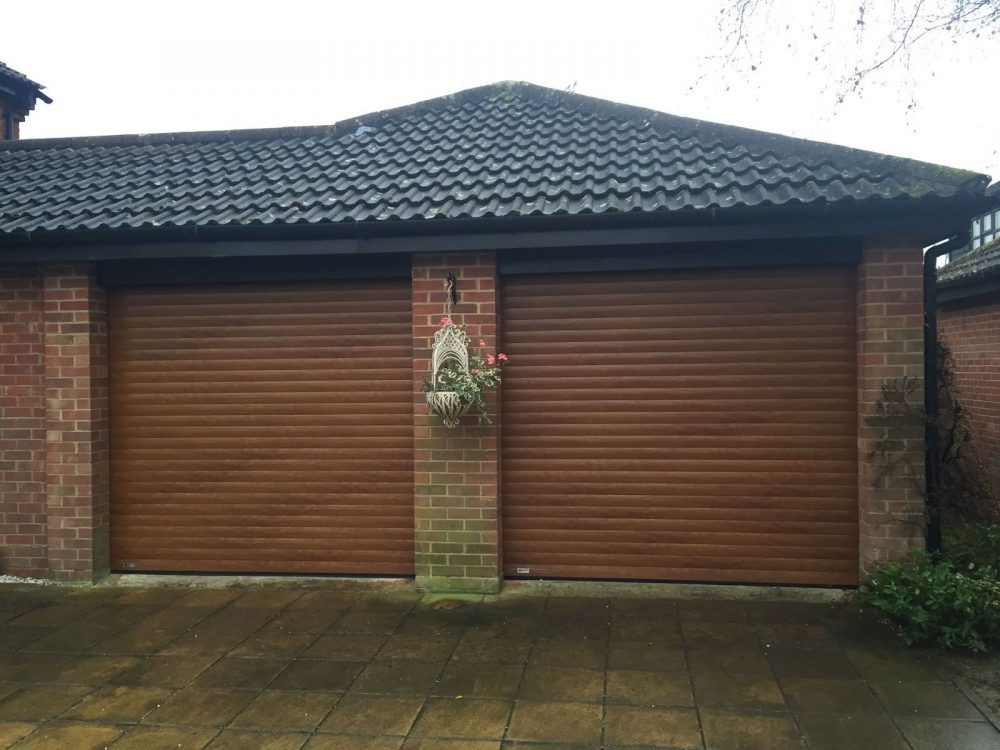 golden oak roller garage doors fitted in Thame, Oxfordshire by Shutter Spec Security