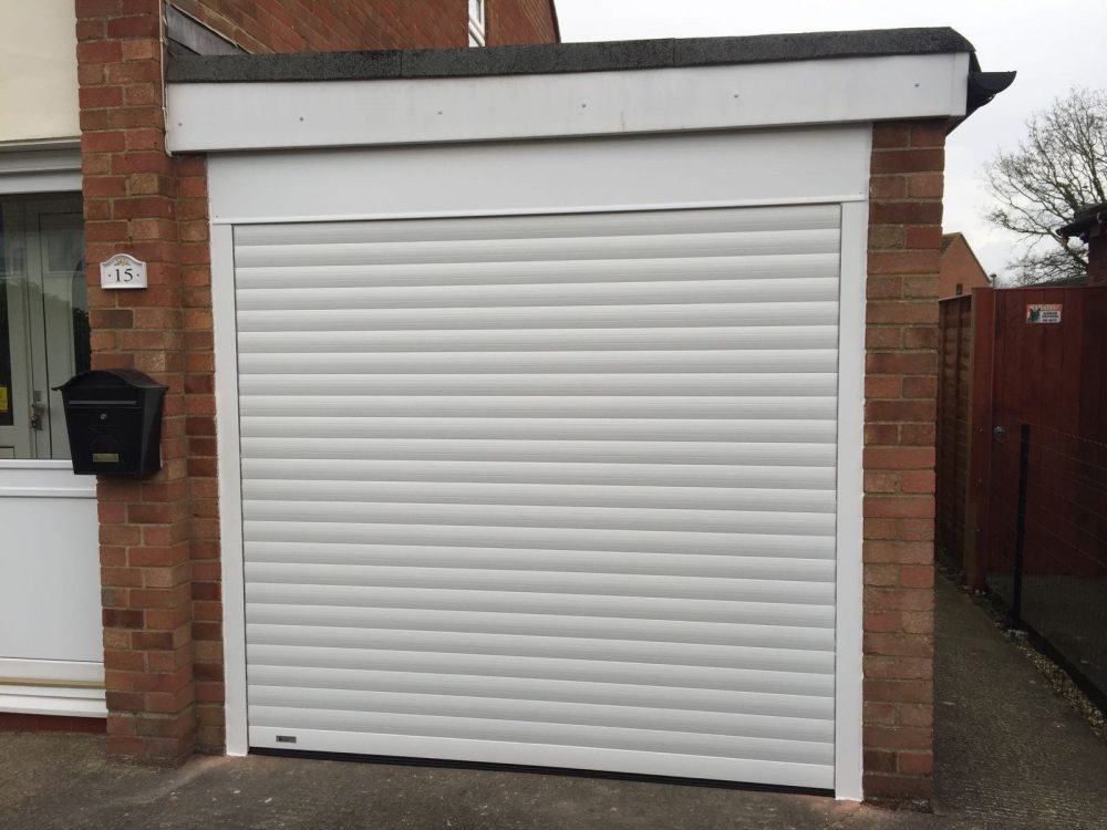 white seceuroglide roller garage door fitted in Thame, Oxfordshire by Shutter Spec Security